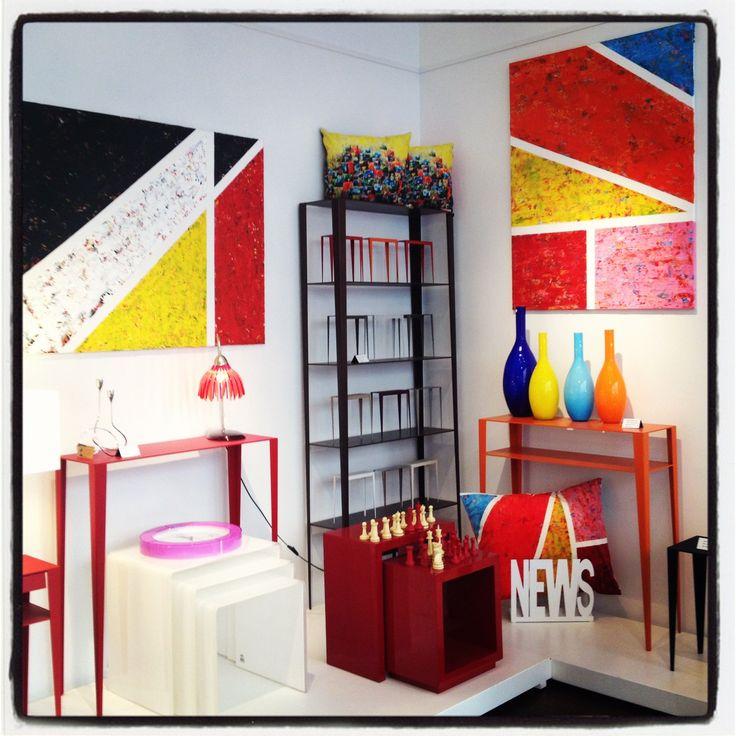 Paintings and cushions by Paula Rindborg