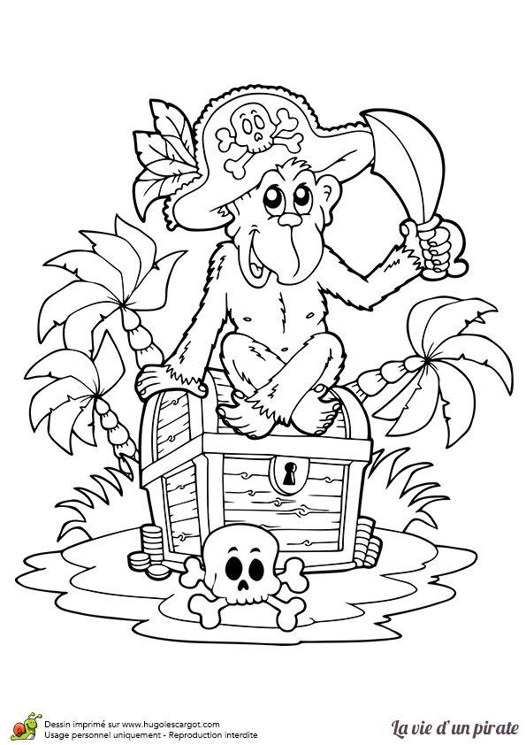 Coloriage d un singe de pirate gardant sagement le tr sor - Coloriage tresor ...