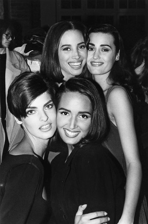 yasmin le bon: Azzedine Alaïa Backstage (1990)with Yasmin Le Bon, Linda Evangelista, Gail Elliot & Christy Turlington.