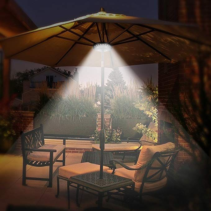 Oyoco Patio Umbrella Light 3 Brightness Modes Cordless 28 Led Lights At 200 Lumens 4 X Aa Battery Operate Patio Umbrella Umbrella Lights Patio Umbrella Lights