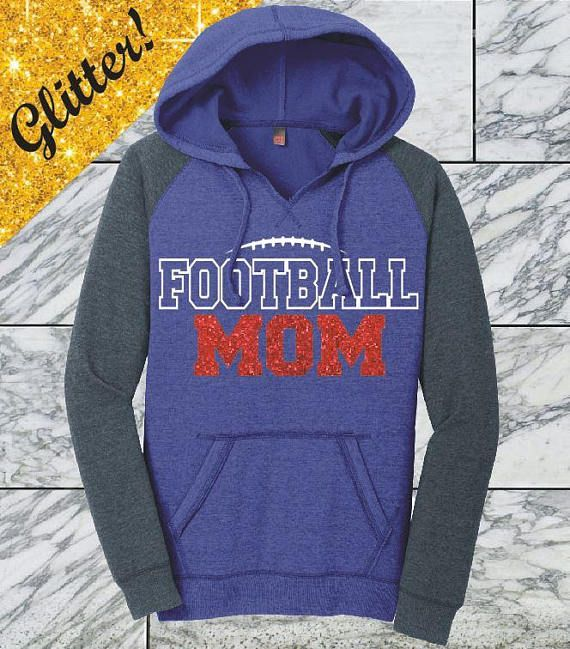 Red Glitter Football Mom Hoodie Game Day Hoodie Football Mom Glitter Football Shirt Game Day Glitter Shirt Football Hoodie Custom DM296