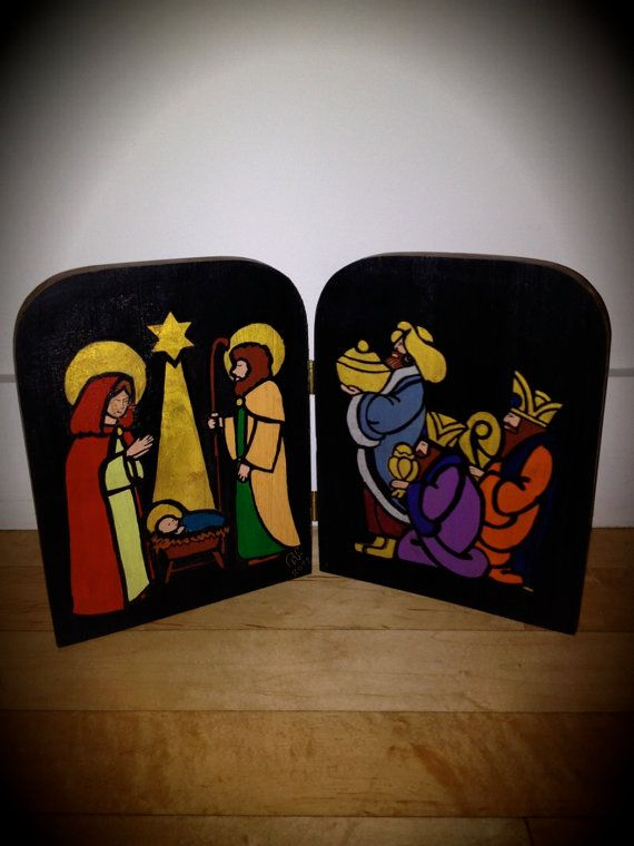 Large Modern Color Block Nativity Scene - Hand Carved Retablo. $50.00, via Etsy.
