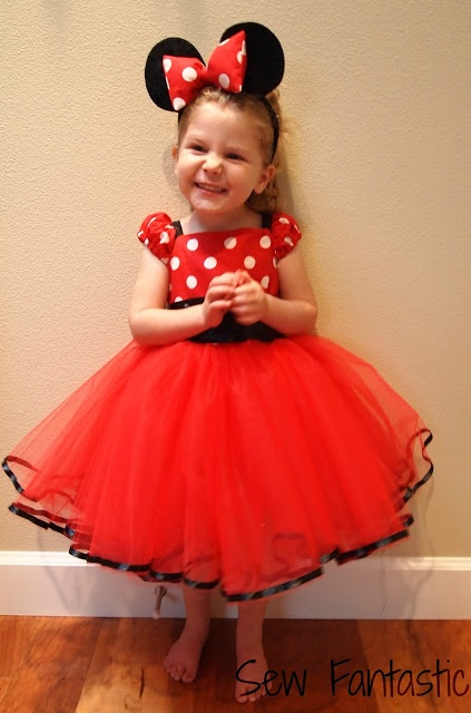 Sew Fantastic: Minnie Mouse Miracle -  @Julie Casey  is this too over the top?!  we could DIY a tutu skirt for her & use fabric paint on a red t-shirt.  :)