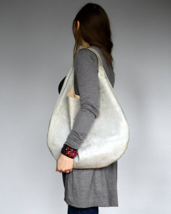 Silver Grey Leather Hobo Bag RESERVED FOR AIMEE by patkas on Etsy