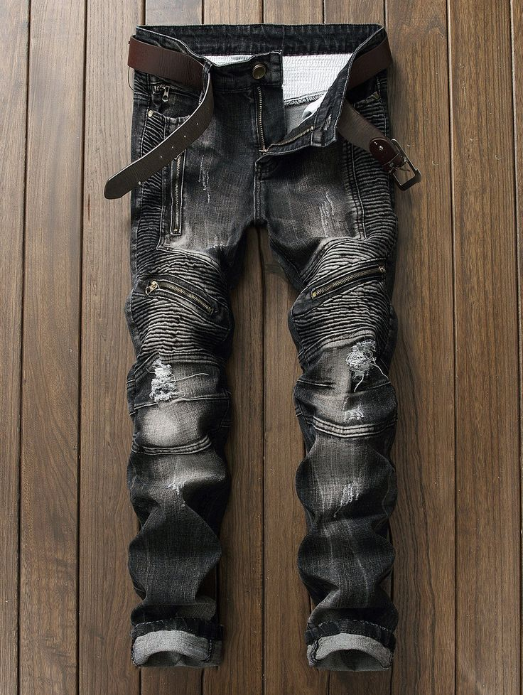 Zipper Ripped Biker Jeans - Gamiss