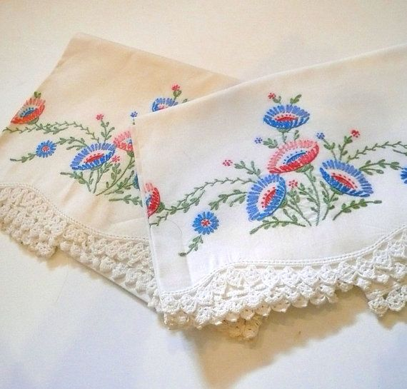 Vintage Hand Embroider Pillowcases Floral by VintageReinvented,