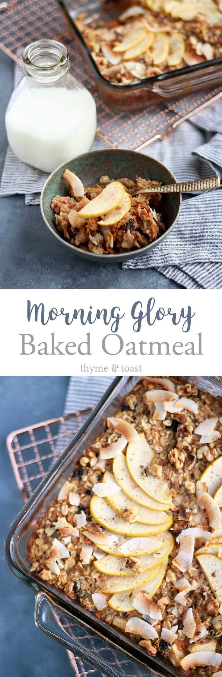 Baked oatmeal inspired by morning glory muffins. Loaded with carrots, coconut, raisins, walnuts, and apples. Perfect for meal prep!