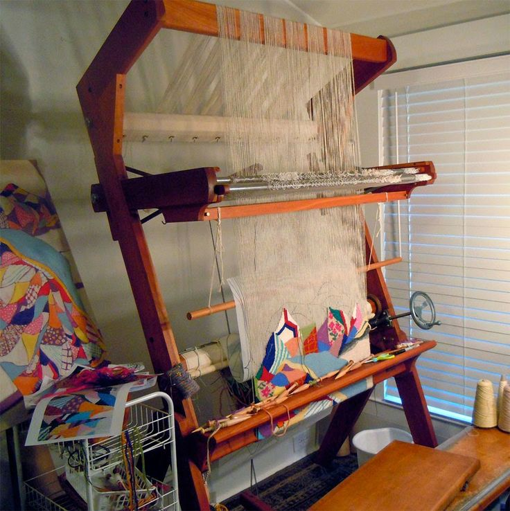 Rebecca Mezoff, Tapestry Artist: Which tapestry loom is right for me? Part 2: High-warp looms; Fireside Cantilever loom, owned by Tommye Scanlin