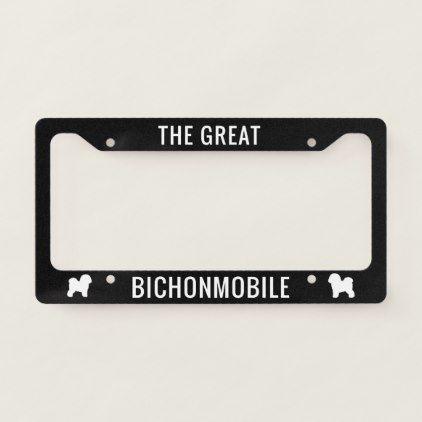 #Bichonmobile Bichon Frise Silhouettes Custom License Plate Frame - #Petgifts #Pet #Gifts #giftideas #giftidea #petlovers