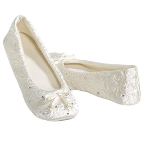 Isotoner Quilted IVORY Satin Wedding Slippers with Rhinestones #Isotoner #Slippers