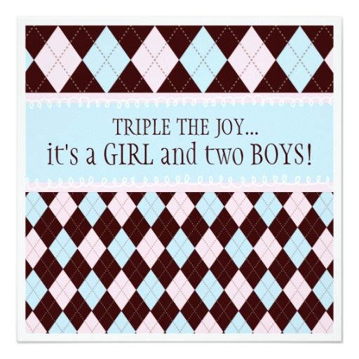 Triple the Joy Argyle Boy Girl Triplet Baby Shower 5.25x5.25 Square Paper Invitation Card