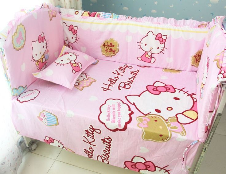 Promotion! 6PCS Hello Kitty Baby Bedding Set Baby Bed Set 100% Cotton Children Bed Linen  (bumpers+sheet+pillow cover)