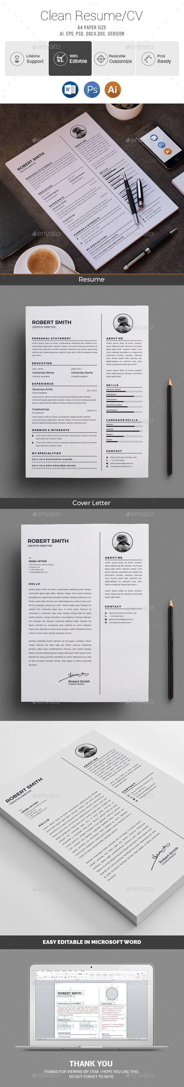 Resume / CV Template PSD, Vector EPS, AI Illustrator, MS Word