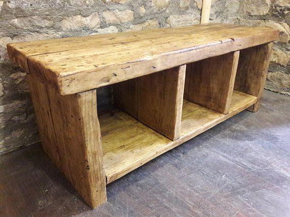 Wood Hallway Bench Seating Storage Handmade Shoe Rack Dinning Room