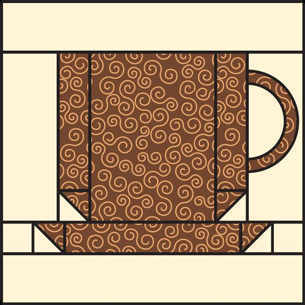 Free coffee-cup quilt block pattern