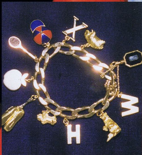 Princess Diana's Charm Bracelet, given to her by Charles.  He gave her a charm for each year they were married.