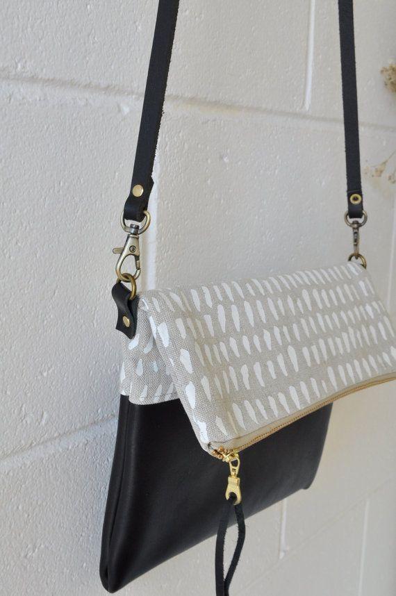 Foldover Crossbody Bag Clutch Purse Black by SmallWorldDreams
