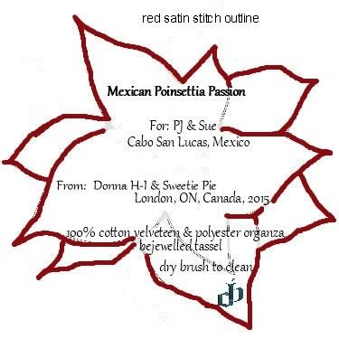 Poinsettia Passion  Wall Hanging,Label