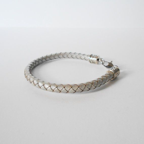 silver braided leather bracelet mens braided leather by jcudesigns