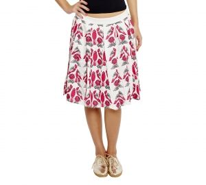 Jalebe trendy white skirt with bird print for women INDTJBL024