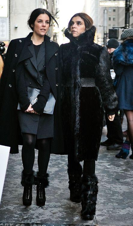Julia Restoin-Roitfeld and Carine Roitfeld