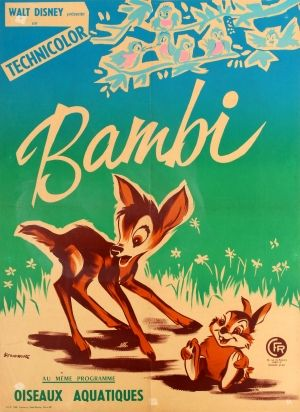Bambi Walt Disney France, 1950s - original vintage cinema poster by F. Trambouze for the French re-release of the classic Walt Disney animation film Bambi (1942) also featuring Disney's Water Birds (1952) in the movie programme listed on AntikBar.co.uk