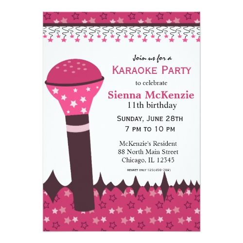 120 Best Karaoke Birthday Party Invitations Images On Pinterest