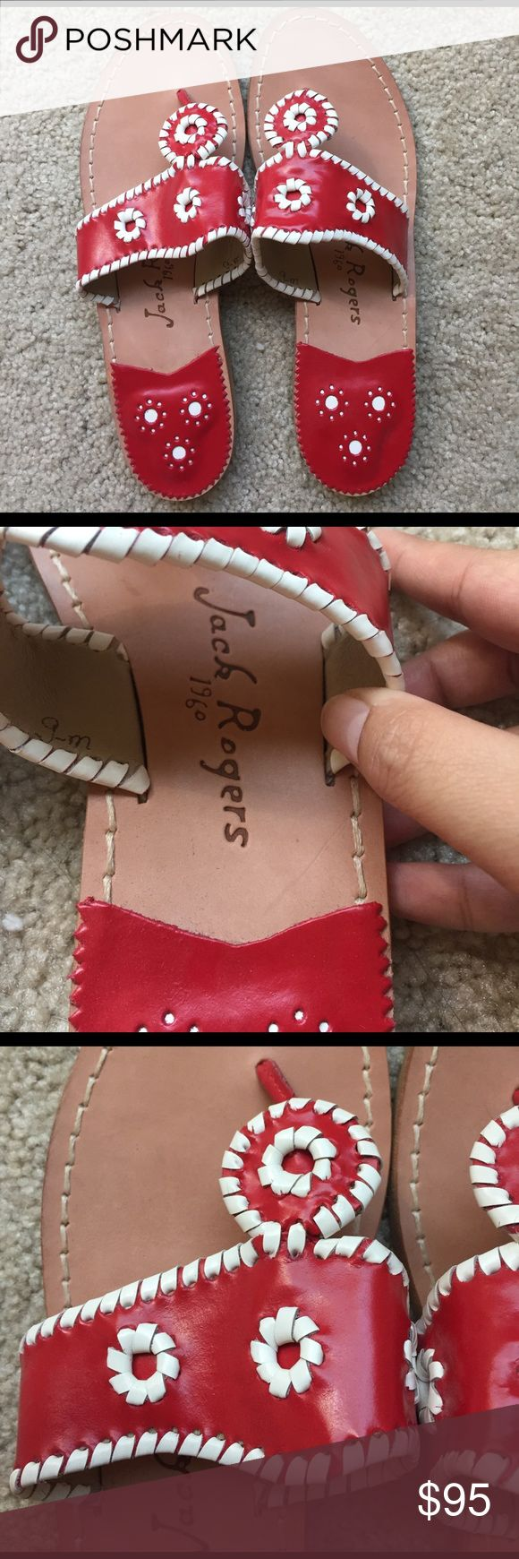NEVER WORN Red and White Jack Rogers Sandals! These are unique and have never been worn! These would go great to accessorize an outfit that red would compliment, and they have no damage or tears-it's like getting a brand new pair! Would bundle with other Jacks in my closet so you can save! Jack Rogers Shoes Sandals