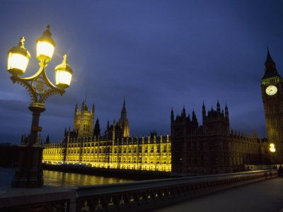 Night View of Big Ben and the Houses of Parliament, in London