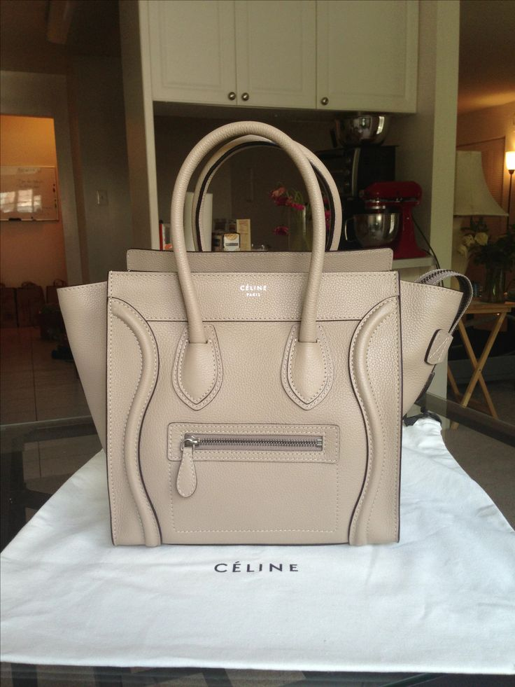Celine Micro luggage tote in Dune pebbled leather