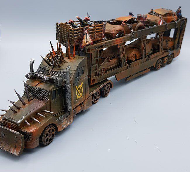 War-Rig Prison Transport for Gaslands Converted Hot Wheels Tractor Trailer