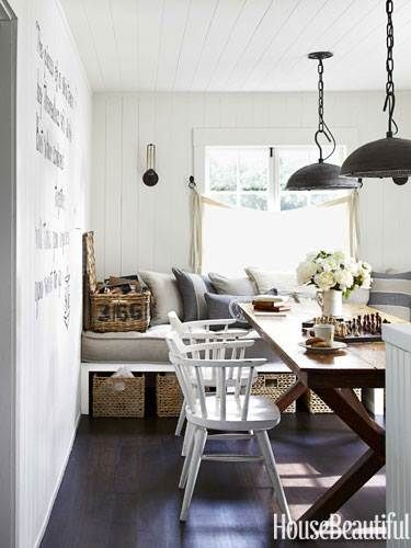 Love the pendant lights from Urban Electric Co. and antique trestle table