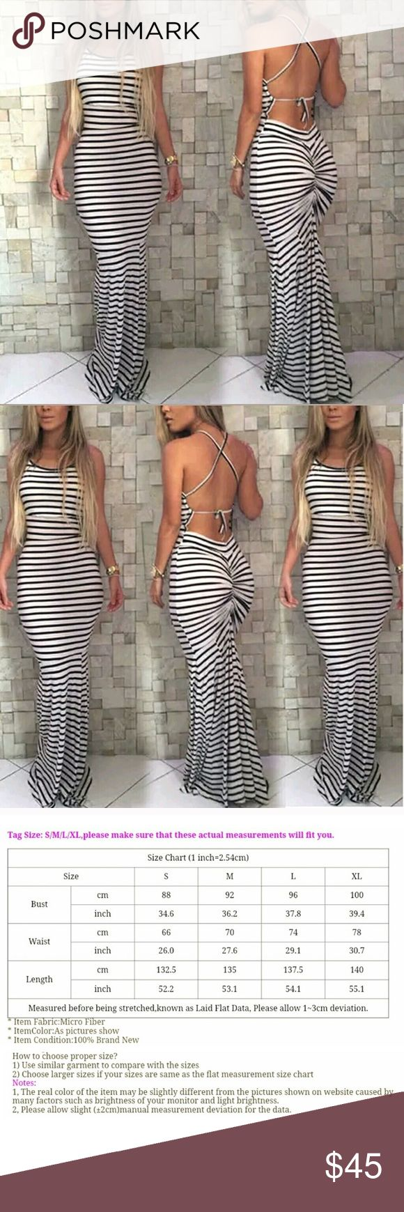 Striped Backless Summer Dress This black and white striped backless body con summer dress is cute and sexy. Show off your curves with this beautiful dress that falls down to your feet and crosses around your back  It's lightweight and stretchy with tightness in the right areas. Wear it at the beach, for a party, or just casual wear   Features: •Body con style •Sleeveless •Long •Sewn back •Chest strings are adjustable Dresses Maxi