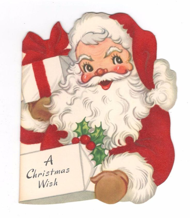 Vintage A-Meri-Card Christmas Greeting Card Fuzzy Santa Claus | Collectibles, Paper, Vintage Greeting Cards | eBay!