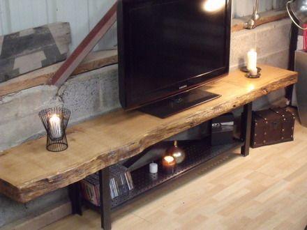 Meuble tv bois massif métal bois sur mesure  : Meubles et rangements par micheli-design