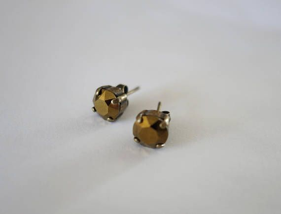 Swarovski Earrings Antique Bronze Plated Prong Set Crystal