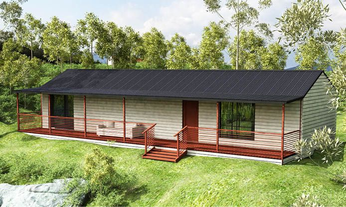 Tranquility: A compact two bedroom bungalow or main bedroom and study that utilises the block effectively leaving space for flexibility.