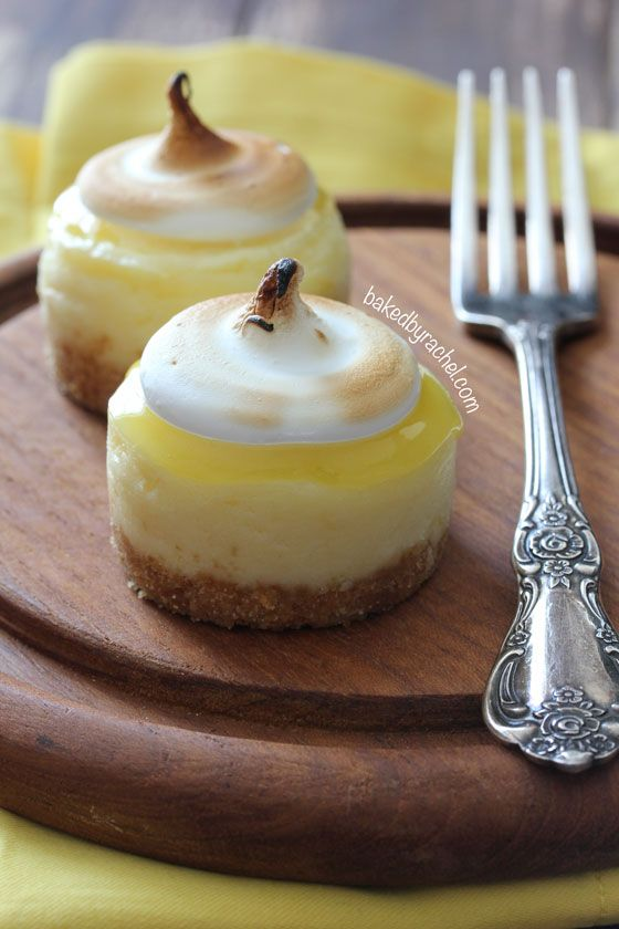 Mini Lemon Meringue Cheesecakes Recipe from bakedbyrachel.com
