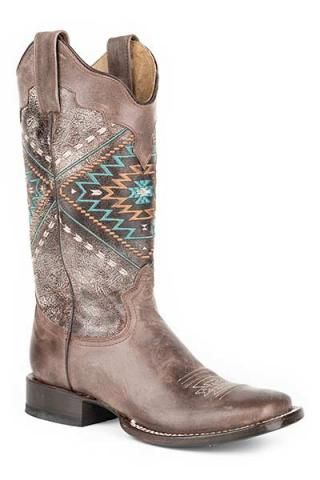 Womens Boots Roper Native Embroydery Square Toe Brown Lthr Native