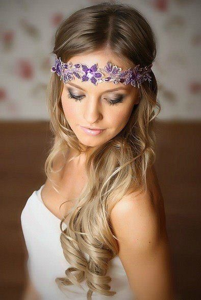 Embellished Bridal Hairstyle for Long Hair.. headband is too low for me but I like the hair
