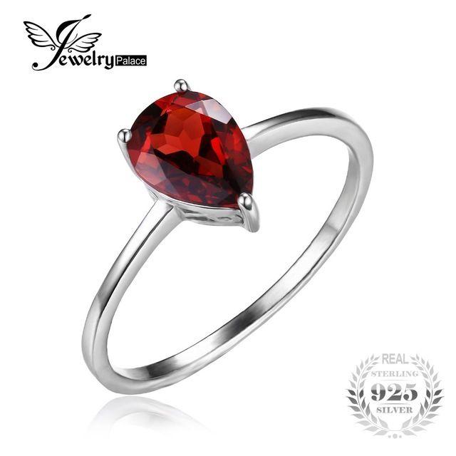 Jewelrypalace goccia d'acqua 1.6ct natural garnet red solid 925 anelli d'argento per le donne del partito di modo fine jewelry