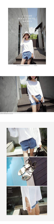 103 ダメージブルーデニムショートパンツ・全1色パンツ・ジーンズ|大人のレディースファッション通販 HIHOLLIハイホリ [トレンドをプラスした素敵な大人スタイル]