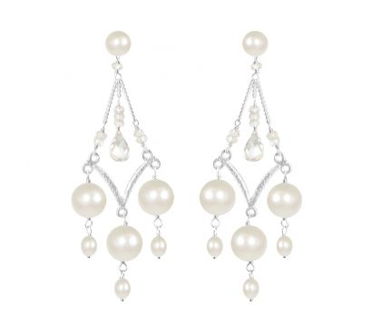 Sterling silver textured chandelier earrings with large white pearl drops, cultured fresh water pearls and Rock Crystal tear-drop. http://mounir.co.uk/collections/sparkling_nights/4681_pearl_chandelier_earrings