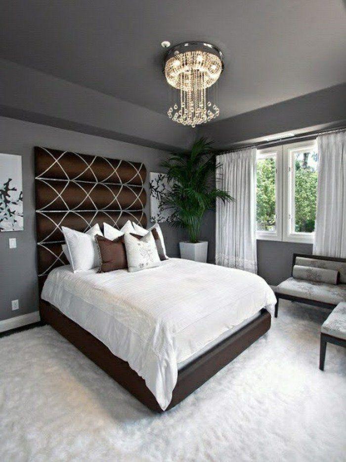 joli design pour la tête de lit originale, murs gris