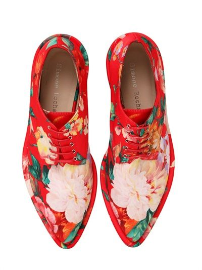 30MM PRINTED FAUX LEATHER DERBY SHOES