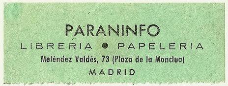 Paraninfo, Libreria - Papeleria, Madrid, Spain (75mm x 28mm). Courtesy of S. Loreck.