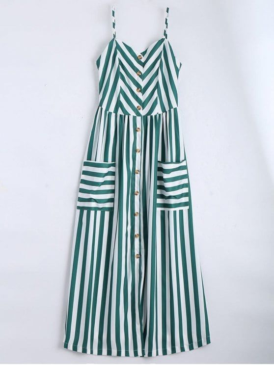 Button Up Striped Cami Dress - BLACKISH GREEN L