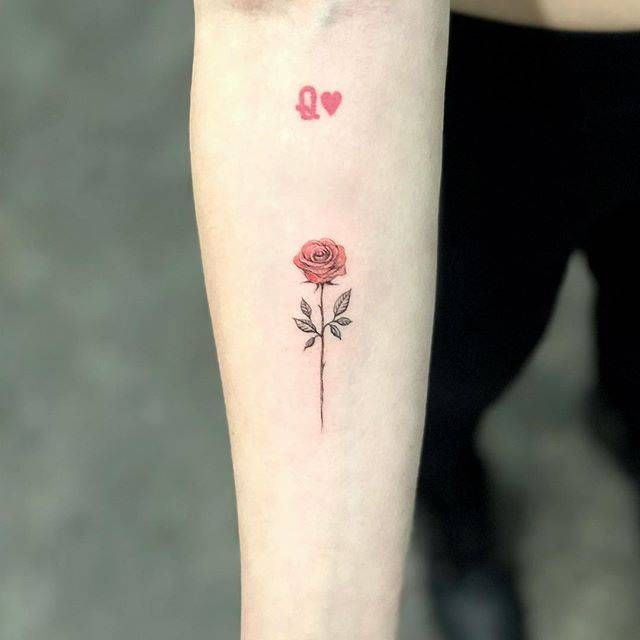 Red Rose Tattoo On The Inner Forearm Small Tattoos Red Rose Tattoo Small Rose Tattoo