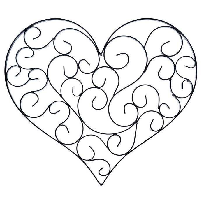 Black Heart Shaped Metal Wall Decor With Scrolls Metals