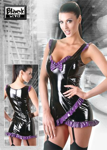 Black and Purple PVC Suspender Dress